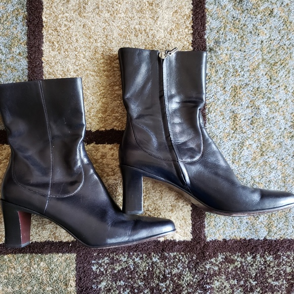 7f50854c134 Cole Haan Black Leather Ankle Block Booties Sz 10